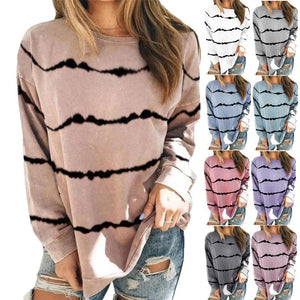 Tie-dye Printed Striped Round Neck Loose Long-sleeved T-shirt