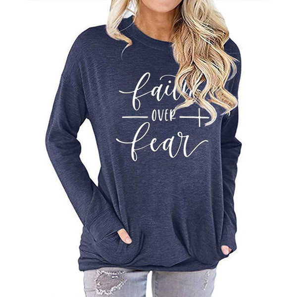 Women Faith over Fear Letter Print Long Sleeve Round Neck Pocket Casual Shirt Tops