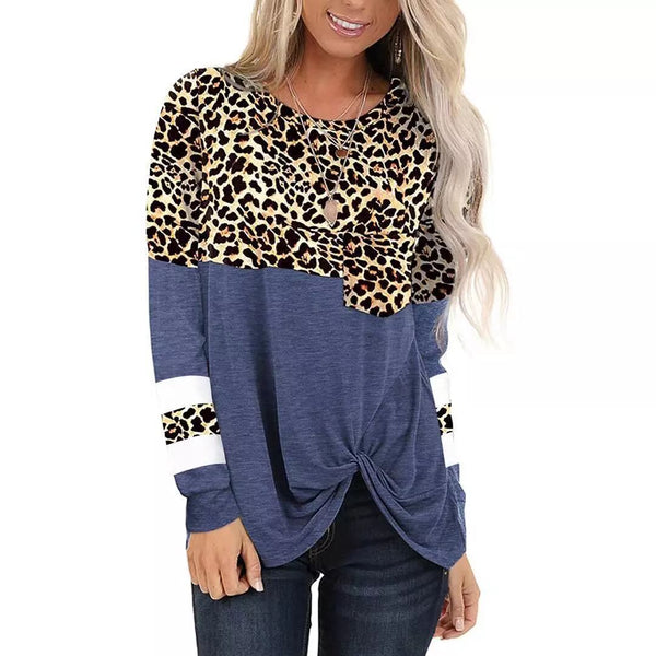 Women Leopard Patchwork Long Sleeve Casual Knotted T-shirt Blouse Tops