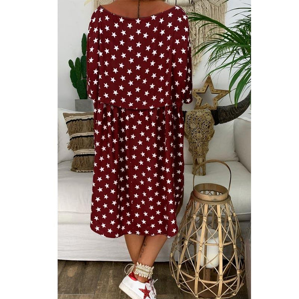 Women Loose Printed Casual Knee Length Dress