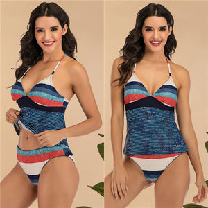 Women Stripe Print Tankini Tummy Control Swimsuits High Waist Two Piece Bathing Suit Athletic Swimwear