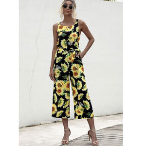 Sunflower Printed Women Casual Strap Sleeveless Jumpsuit Wide Leg Pants