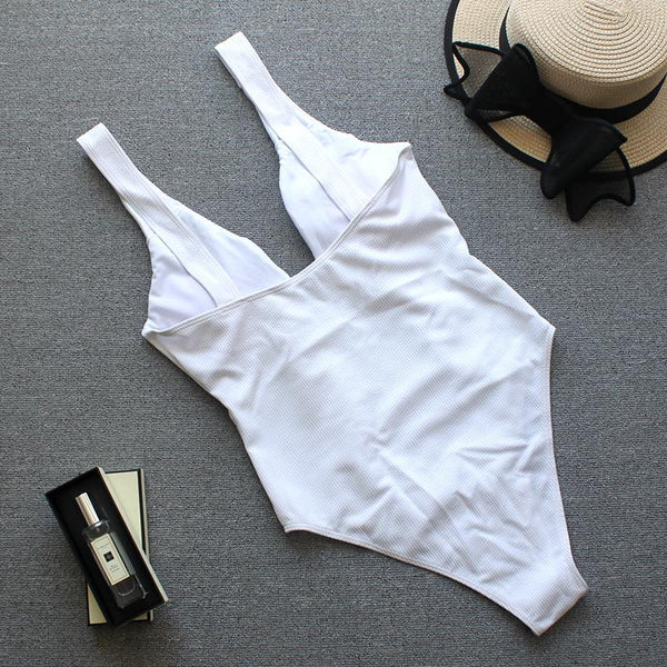 Solid Color Lace Bow Sexy Solid One-Piece Bikini