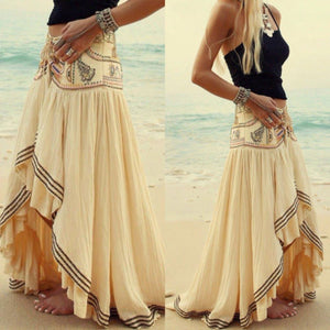 Long Bohemian Asymmetrical Chiffon Beach Skirts