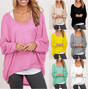 Women's Sexy Long Batwing Sleeve Loose Pullover Casual Top (Plus Size )