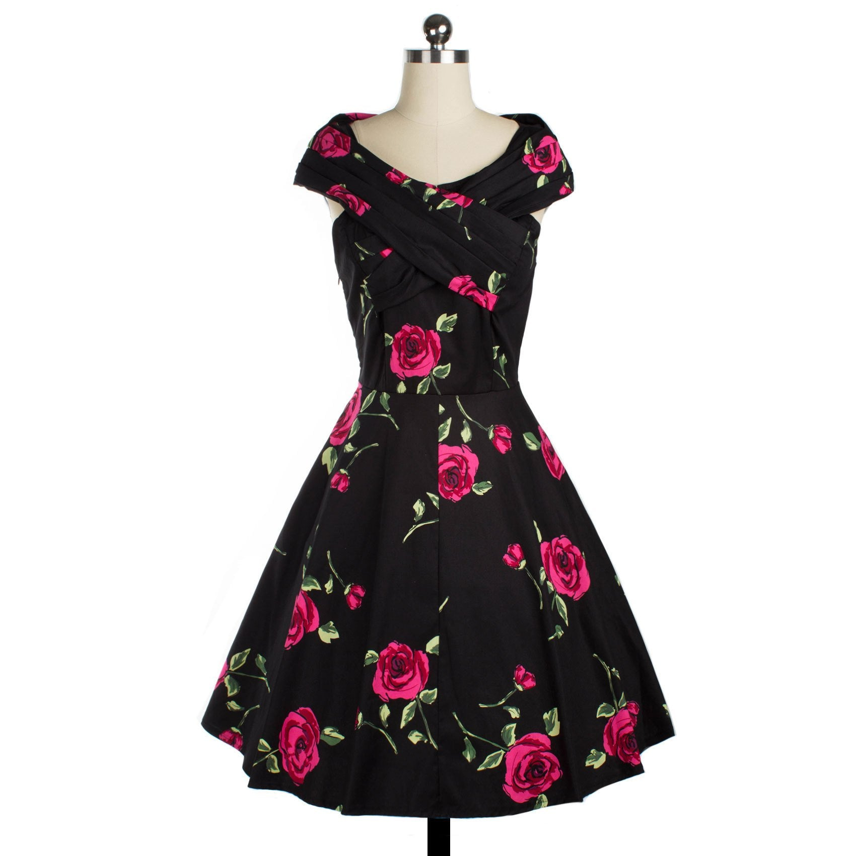 1950s Retro Floral Print Big Swing Dress
