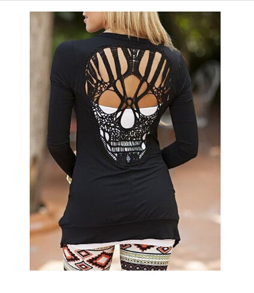Black Skull Cut Out Round Neck Long Sleeve Fashion T-Shirt