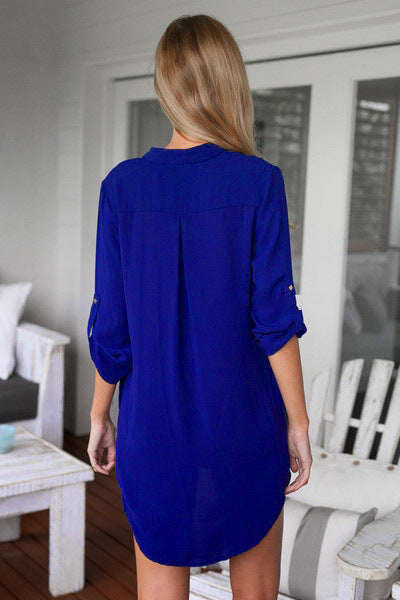 Solid Color V-Neck Long Sleeve Loose Blouse For Women