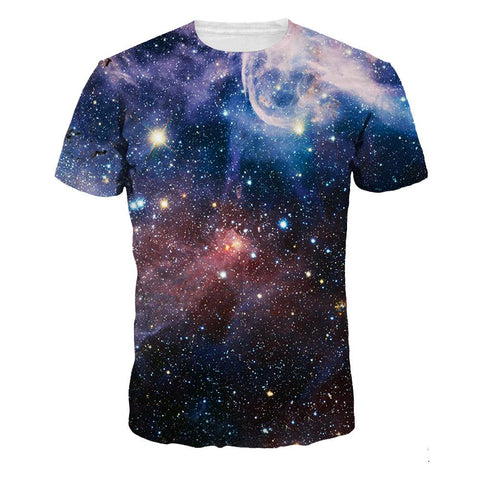 3D Galaxy Printed Casual Short Sleeve T-shirt