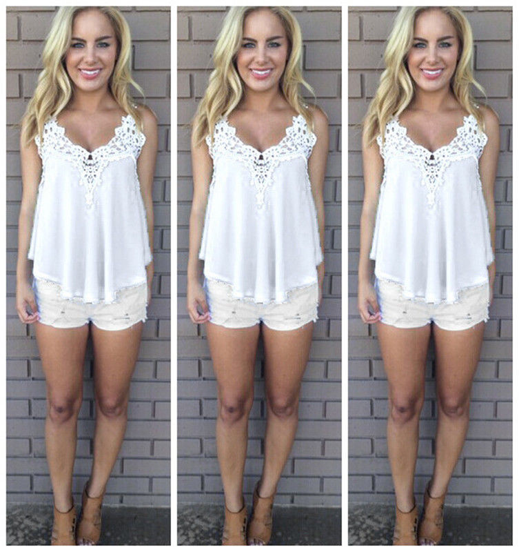 V Neck Lace Stitching Slim Sexy Strappy Camis Tank Tops