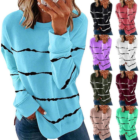 Women Casual Stripe Pullover Long Sleeve Shirt T-Shirts Blouse Tops