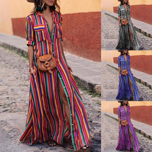Half Sleeve Rainbow Stripe Loose Casual Single Breasted Bohemian Maxi Dress