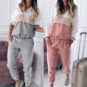 Women's Hooded Colorblock Casual Two Piece Sports Suit