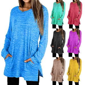 Women Plain Long Sleeve Loose Round Neck Pocket Side Split Casual Blouse Tunics Tops