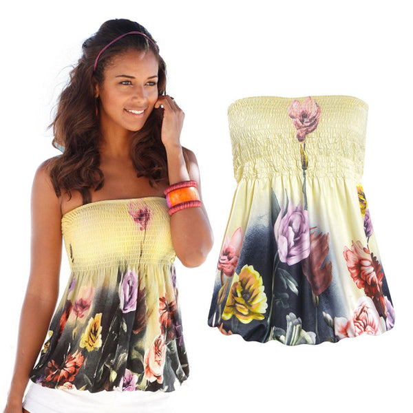 Floral Print Strapless Pleated Tube Top Shirt