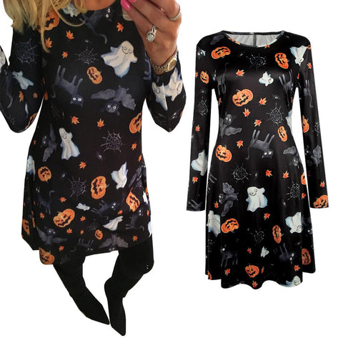 Halloween Pumpkin Ghost  Print Black Dress