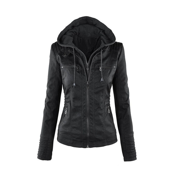 Women Hooded Leather Street Style Fashion Coat