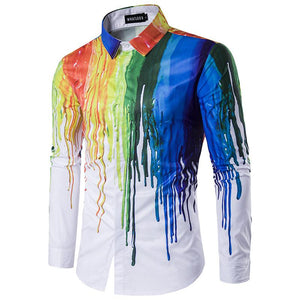 Casual Paint Splatter Long Sleeve Shirt