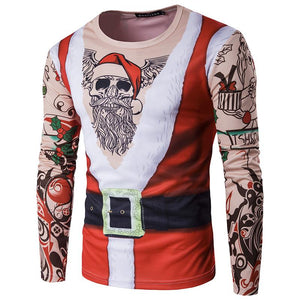 Santa Claus Print Round Neck 3D Long Sleeve Xmas T-shirt