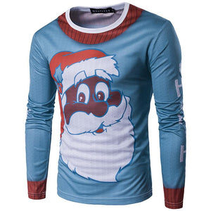 Fashion 3D Cute Santa Print Long Sleeve Slim T-Shirt