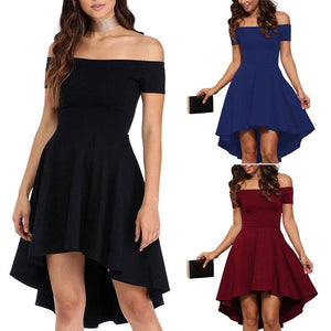 One-shoulder Short Sleeve Tuxedo Dress