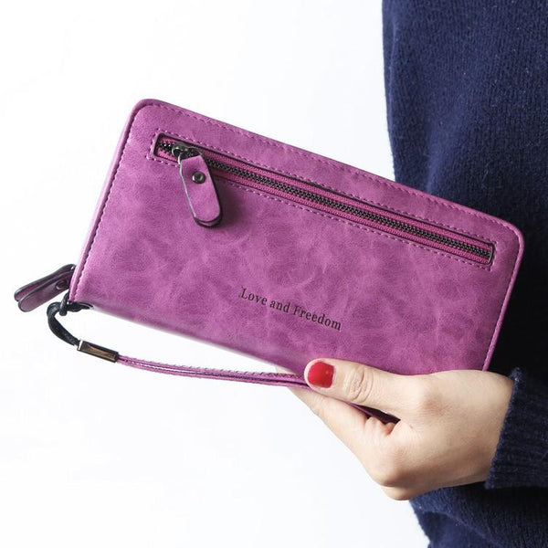 Womens RFID Blocking Wallet Large Capacity  PU Leather Multi Card Holder Organizer Clutch Purses with Zipper Pocket & Wristlets