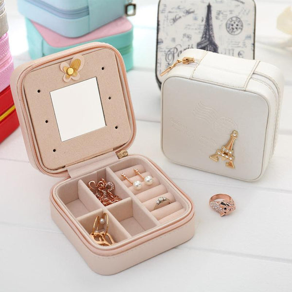Leather Stud Earrings Jewelry Storage Box Travel Portable Jewelry Box