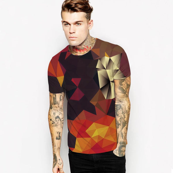 3D Cube Printed Casual Short Sleeve T-shirt