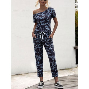 Camo Camouflage printed Women Casual Short Sleeve Off Shoulder Jumpsuit Pants