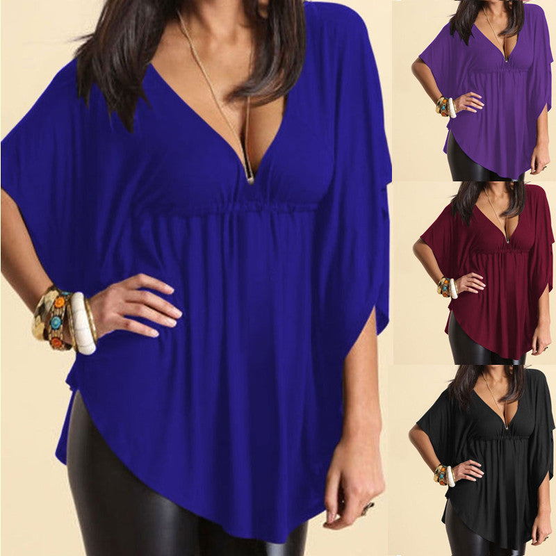 Plus Size Sexy V Neck Batwing Sleeve Loose Casual Shirt Tops