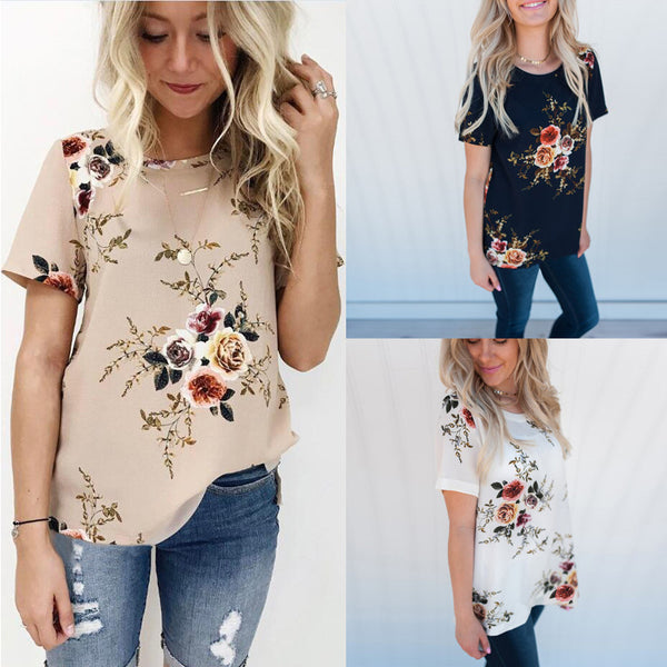 Short Sleeve Printed Thin Chiffon Shirt Plus Size
