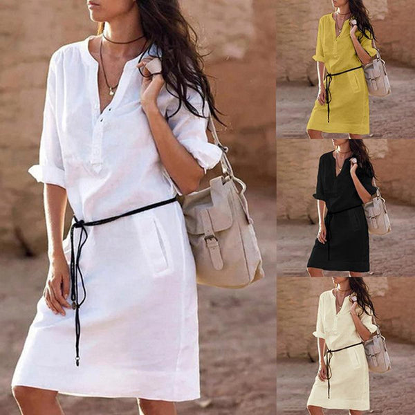 Cotton Linen Long Sleeve V-neck Ladies Casual Loose Solid Dress