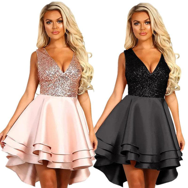 Heart Broken Black Gold Sequin Multi Layer Skater Dress
