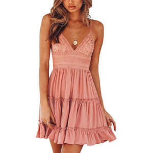 Women Sexy V-Neck Spaghetti Strap Ruched Bowknot Backless Sleeveless Lace Mini Swing Skater Mini Party Short Dress