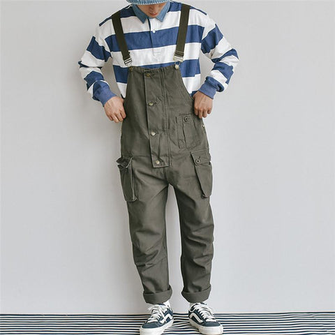 Men Retro Loose One Piece Denim Bib Overalls Ripped Pocket Jeans Jumpsuit Coverall Workwear Pants