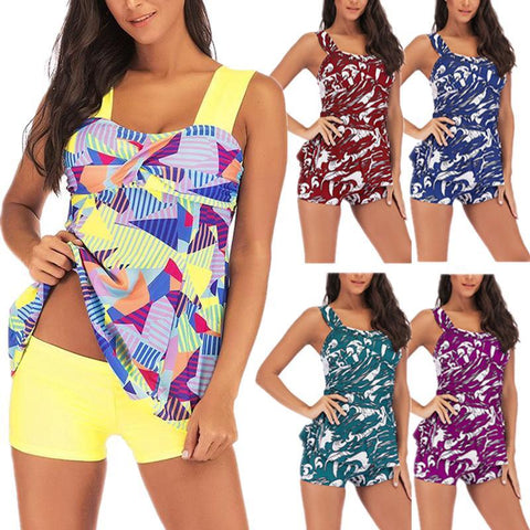 S-5XL Plus Size Printed Two Piece Tankini Swimsuit