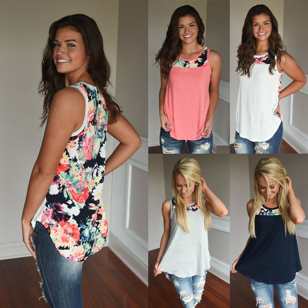 Fashion Womens Sleeveless Floral Print Vest T-shirt