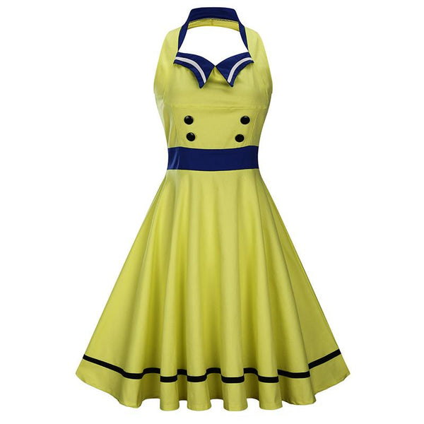 Vintage Halter  Solid Color Pin Up Dress