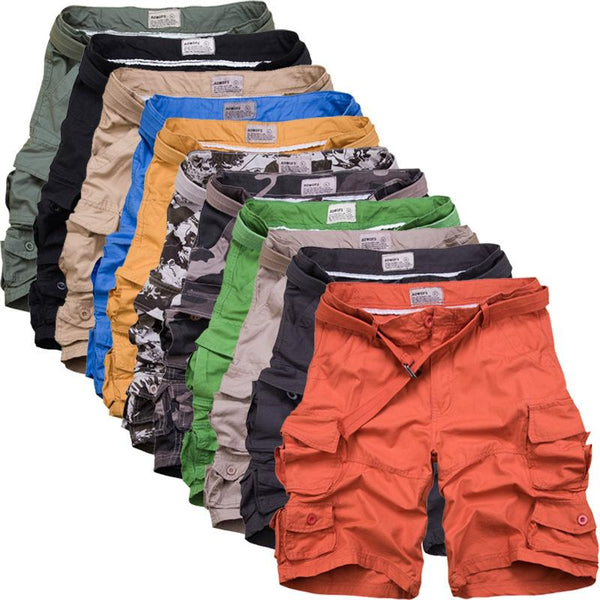 Zipper Fly Camouflage Multi Pockets Shorts