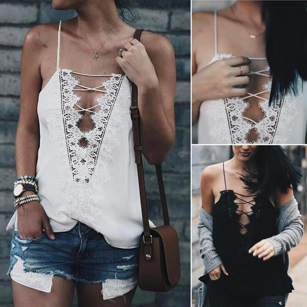 Lace Patchwork Deep V Neck Summer Camisole Tank Crop Top