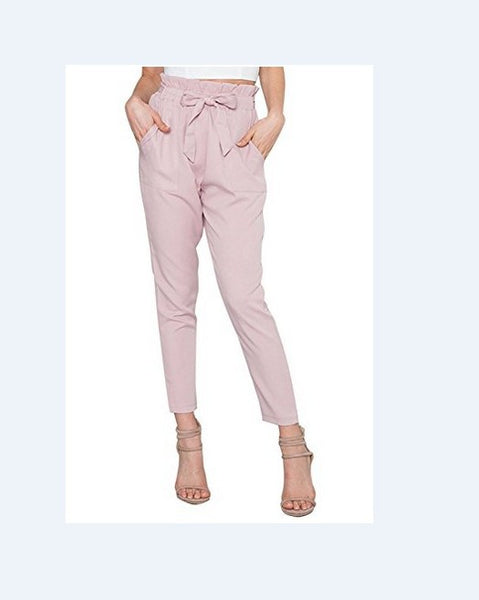 Polyester Plain Ruffle Waist Pencil Pants With Belt