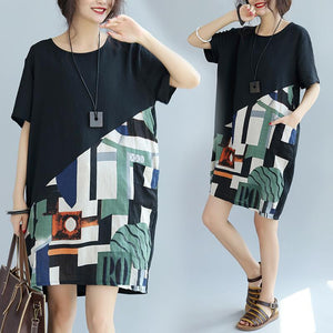 Black Patchwork Linen Loose fitting Cotton Elegant Short Sleeve Knee Dresses