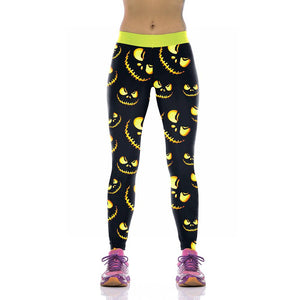 Halloween Pumpkin Light Digital Print Yoga Pants Leggings