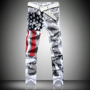 Men's White Flag Print High Stretch Slim Jeans