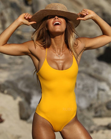 Solid Color Halter Sexy One Piece Swimsuit