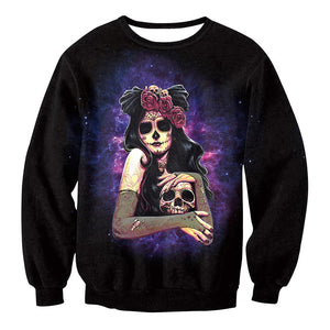 Witch Zombie Bride Digital Print Sweatshirt Women's Halloween Costumes