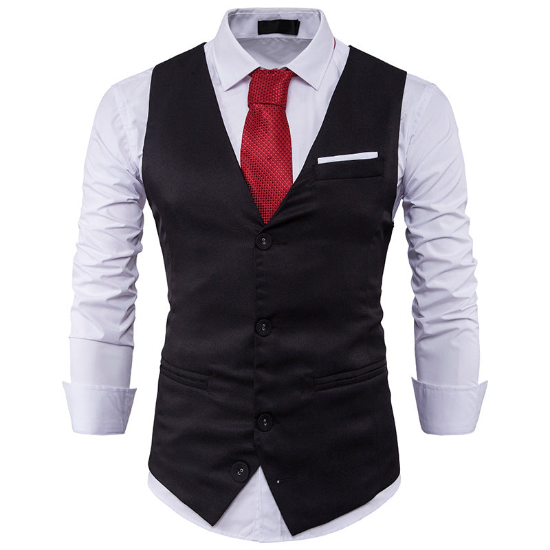 Fashion Chest Colorblock Single Row Three Buckle Vest Waistcoat