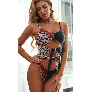 Sexy Knot Front Buckle Spaghetti Strap One Piece Bikini Set Women Swimwear Bathing Suit