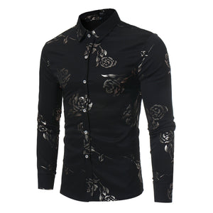 Rose Print Men's Long Sleeve Shirt