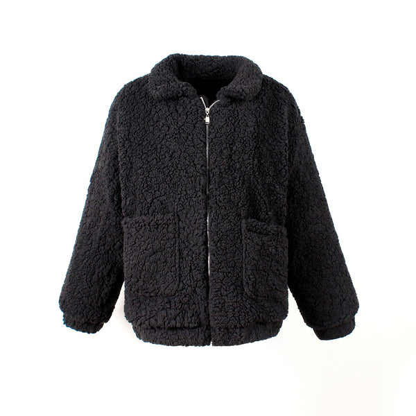Zip Up Fluffy Coat with Pocket